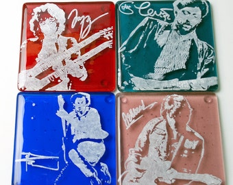 Guitar Greats Coasters, Jimmy Page, Eric Clapton Coasters, Pete Townsend, Jeff Beck Fused Glass Coaster, Musician Coasters, Set Of 4