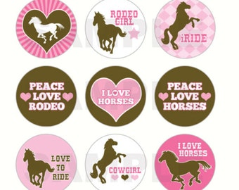 INSTANT DOWNLOAD - Love Horses Bottle Cap Images - 4x6 Digital Sheet - 1 Inch Circles for Bottlecaps, Hair Bow Centers, & More