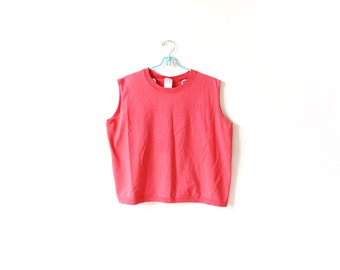 vintage tank top 90's coral salmon muscle athletic 1990's women's clothing size large l