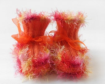 Baby Booties - Hand Knitted - Orange and Pink, 3 - 6 months