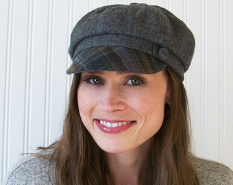 Newsboy Hat, Womens Hat, Heathered Gray Wool, Blue, Brown Plaid Brim, Wool Newsboy,  Made To Order