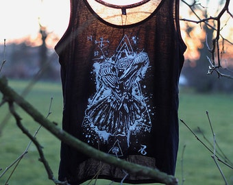handprinted top raven crow occult