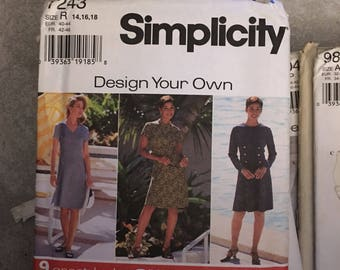 Simplicity Sewing Pattern # 7243 Design Your Own Dress 9 Looks Size 14 16 18