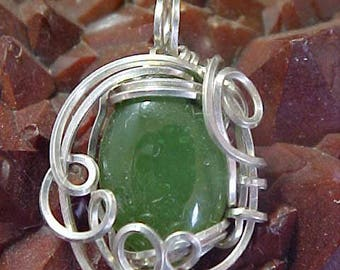 Green Nephrite Jade Sterling Silver Wire Art Pendant Assists One In Accessing Knowledge And Sacred Ceremony 003