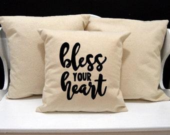 Bless Your Heart Pillow, Home Decor, Decorative Pillow, Throw Pillow, Southern Pillow, GA Southern, Envelope Pillow Cover, Canvas Pillow