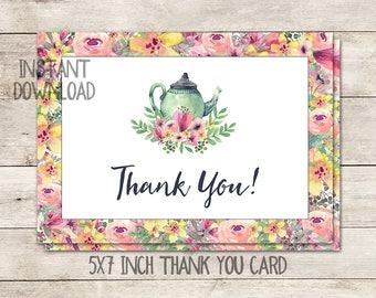 Printable Thank You Card, Tea Party Thank You Card, Bridal Shower, Baby Shower, Birthday, Tea Pot, Watercolor, Floral, Printable No. 1018