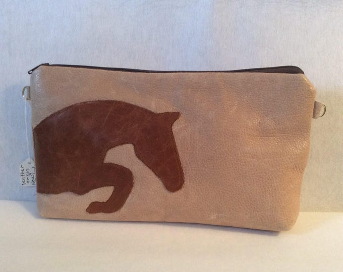 Leather Equestrian Horse Silhouette Clutch Purse Handbag Kentuck Derby