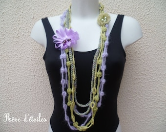 Textile necklace MULTISTRAND + flower brooch