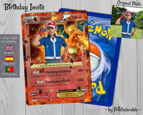 Pokémon Card Fire, Pokemon Invitation Fire, Pokemon Birthday Invite, Pokemon Party, Pokemon GO - Digital or Printed File