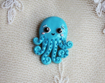 Octopus brooch Devilfish brooch tentacles brooch Devilfish pin Blue octopus Blue devilfish Gift for her Cute blue octopus Tentacle jewelry