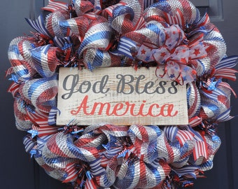 God Bless America Wreath-Patriotic Wreath-4th of July Wreath-Red White Blue Deco Mesh Wreath-Patriotic Deco Mesh Wreath
