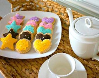 Tea Party Felt Cookie set-Felt Food-Pretend Play