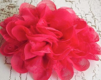 """5"""" Chiffon Lace Flower - Salmon Pink"""