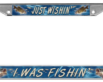 Large Mouth And Small Mouth Bass License Plate Frame Personalize With Text Or Name Gifts Plate Holder Fishing Fisherman