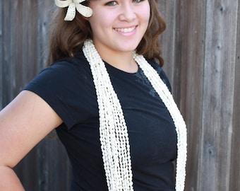 Tahitian costume, Dove shell leis, white, one dozen, nasau shell,nasa shells necklace, 12 strands
