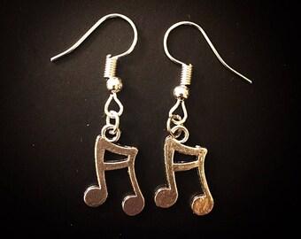 Silver Eighth Note Music Note Dangle Hook Earrings