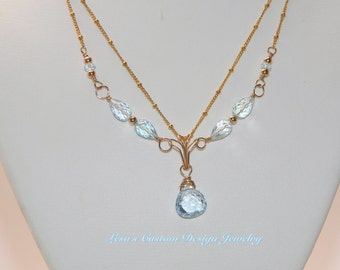 Swiss Blue Topaz Beaded Gold Filled Chain Necklace