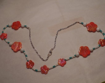 "30"" Iridescent Orange Flower and Blue Turquoise Necklace"