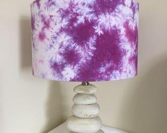 "Purple shibori 12"" x 19cm lampshade"