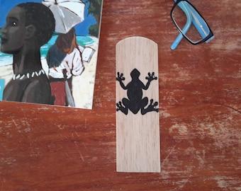 Wooden bookmark: frog / wood inlay bookmark
