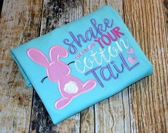 Girl's Easter Shirt - Shake Your Cotton Tail - Rabbit Tshirt - Funny Saying Tee - Personalized with Name - Ruffle Shirt