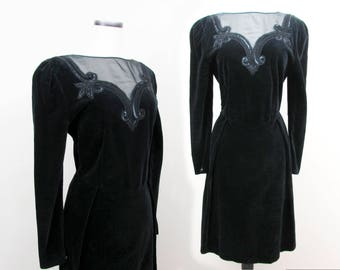 Lancetti Italian Black Velvet Dress with beading - 1980s- Sz 8