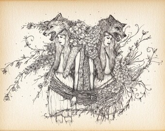 Wolf Girl Gothic Horror A4 Illustration Print