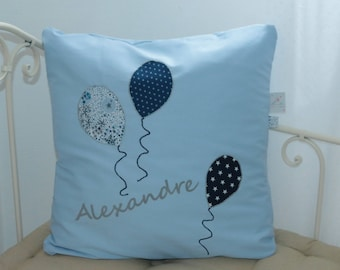 Personalized pillow with balloons, 50 x 50 cm to order