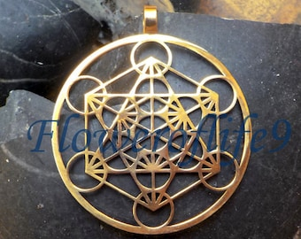 Metatron's Cube pendant (1 3/4) - Brass