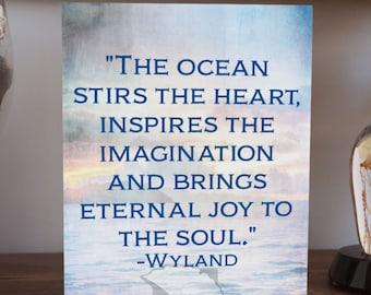 Inspirational Art, 8x10, typography, quote art, art panel, office decor, studio wall art, coastal wall art, ocean wall art, wyland quote