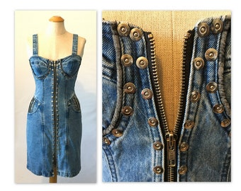 Vintage 80s Glam Rock Denim Dress XXS Curvy Bustier Look with Rivets and Zippers