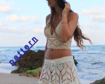 Skirt crochet pattern PDF Summer skirt tutorial Women's clothing patterns Lace skirt Crochet skirt Pattern