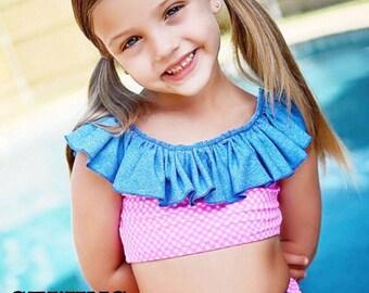Sewing pattern PDF sewing pattern High Waisted Swimsuit for baby toddler girls bikini (2t-8yrs)
