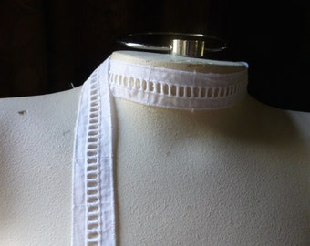 3 yds. WHITE Entredeux Lace Trim for Bridal, Heirloom Sewing, Garters, Garments, Costumes