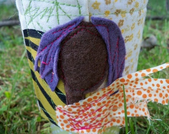 Eco Friendly Lavender Haired Girl with Polka Dot Scarf Coffee Cuff Sleeve Cozy in felt
