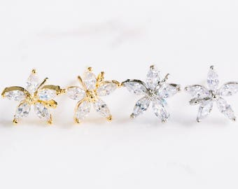 2pcs cz cubic zirconia large flower ear studs earrings,flower jewelry,bridesmaid gift,cz wedding earrings,womens cz earrings