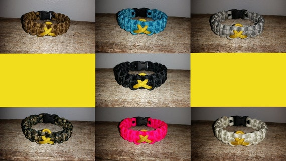 Childhood Cancer Awareness 550 paracord survival bracelet gold ribbon