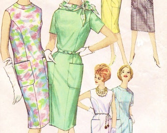 60s Summer Wiggle Dress Pattern Simplicity Sewing Pattern 4382 Womens One Piece Princess Seam Dress Size 16 Bust 36 Shift Dress Patterns