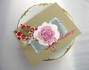 Fabulous Flower Handmade Blank Card~gold~red~pink~grey~pretty packaging~flower~Friendship~scrapbook planner