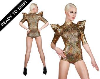 Bodysuit in Holographic Gold, Futuristic Clothing, Leotard, Dancewear, Festival Playsuit, Performance Wear, Aerial Silks, EDC, LENA QUIST