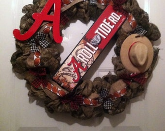 Roll Tide - Crimson tide - Camoflauge Alabama Wreath -  Camo Bama Wreath - Camoflauge - Nick Saban - SEC  - Camo Roll Tide Decor - Football