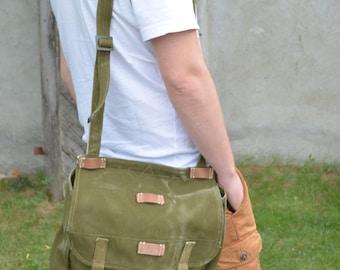 Vintage Messenger Bag, Military Shoulder Bag, Green Heavy Duty Canvas Bag, Army Messenger Bag, Cross Body Bag, Unisex Military Haversack