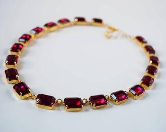 Fuchsia Pink Swarovski Crystal Necklace, Swarovski Crystal Jewelry, Collet Necklace, Georgian Paste Jewelry, Dark Pink Anna Wintour Necklace