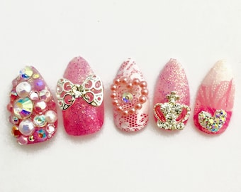 Pink Princess Kawaii Fake Nails | Lolita Gyaru Princess Cosplay Press On Nails | Kawaii Cute Japanese 3D Fake Nails | Kawaii Accessory