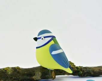 Blue Tit brooch - Spring garden jewelry - Nature inspired pin in polymer clay - British birds series