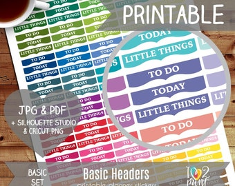 Basic Headers Printable Planner Stickers, Erin Condren Planner Stickers, EC Printable Stickers, To do, Todays, Little Things - CUT FILES