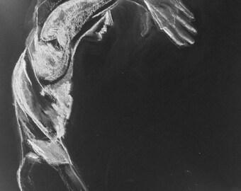 Male figurative dance study, original chalk painting on  black A1 paper.