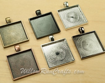 50 pcs 25mm Square Pendant Trays in Ant Bronze, Ant Copper, Black, Gun Metal, Ant Silver and Silver Plated, Blank Bezel Cabochon Setting