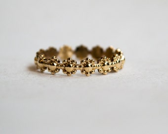 Skinny solid gold ring, Simple wedding ring, floral ring, 14K nature ring, stacking ring, Boho ring, simple band, dainty ring - Trip RG2231