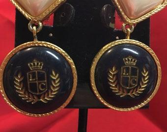 Liz Claiborne Vintage Clip Dangle Earrings Nautical